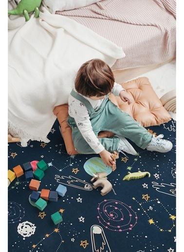 Hamur Space 150x150 cm Oyun Matı Bebek ve Çocuk Halısı Lacivert